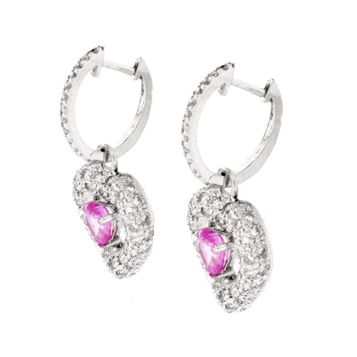 Diamond, Pink Sapphire and 18K Earrings