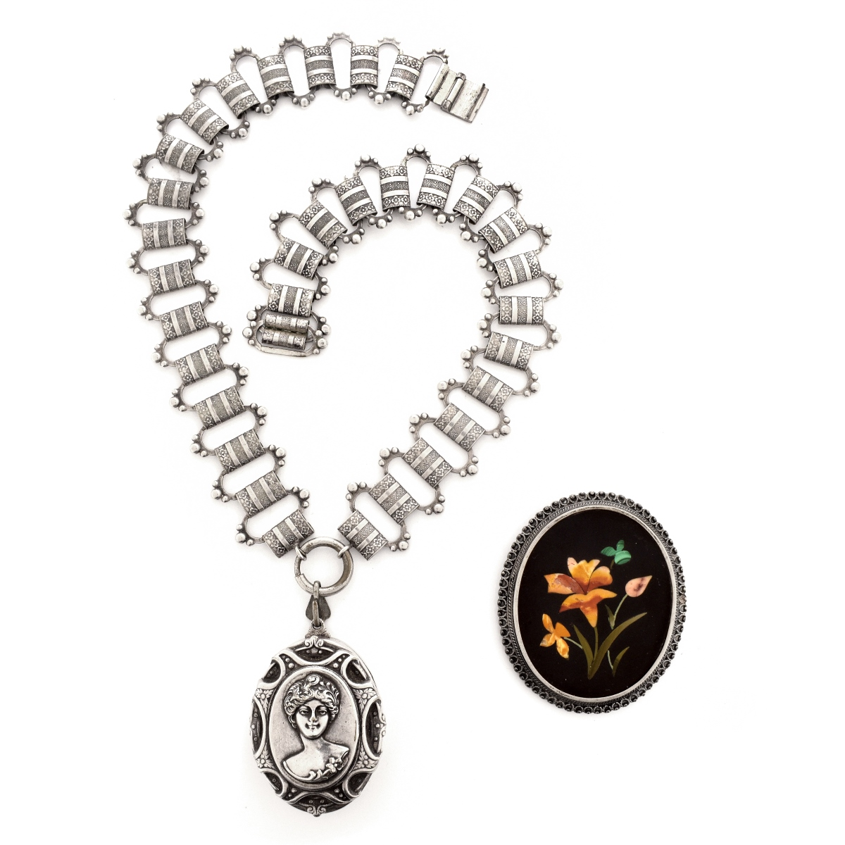 Antique Silver Necklace and Pietra Dura Pendant