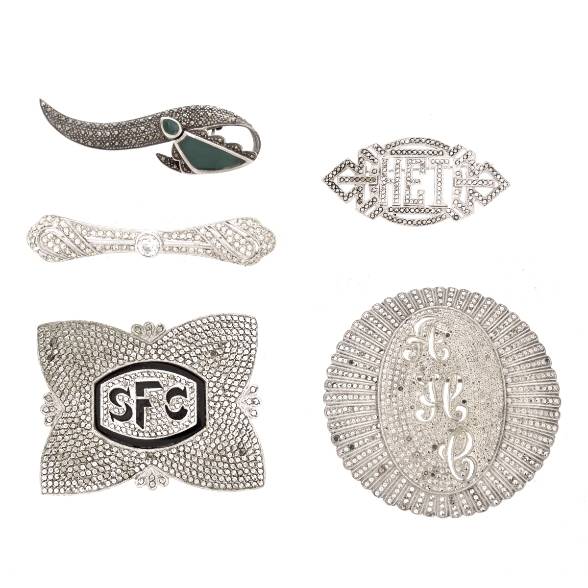 Five Vintage Marcasite Brooches