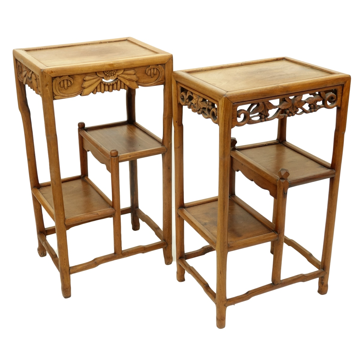 Two (2) Antique Chinese Carved Hardwood Stands