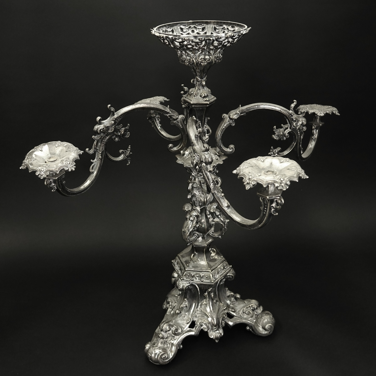 19th C. Silver Over Bronze Epergne Centerpiece