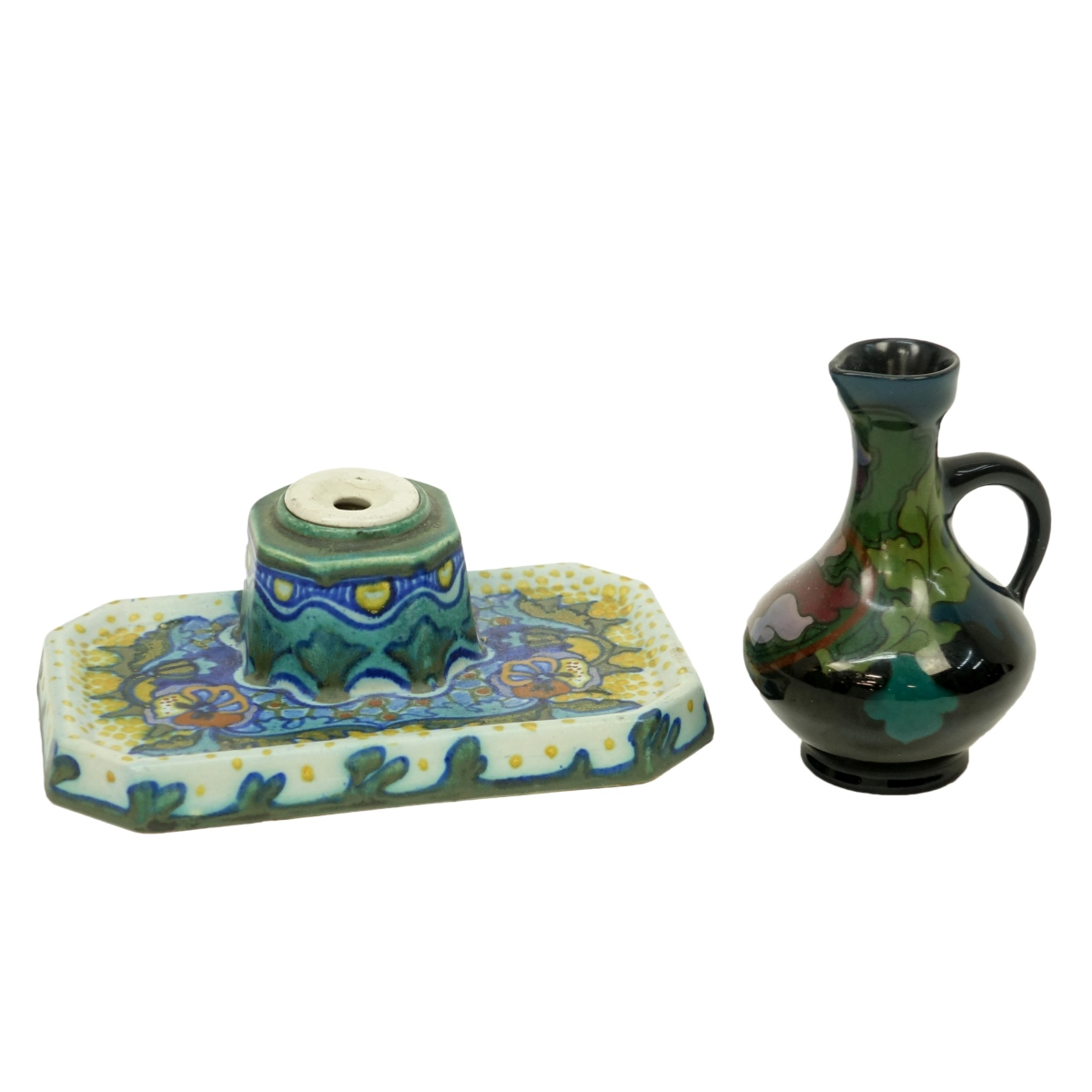 Two (2) Gouda Art Nouveau Pottery Tableware