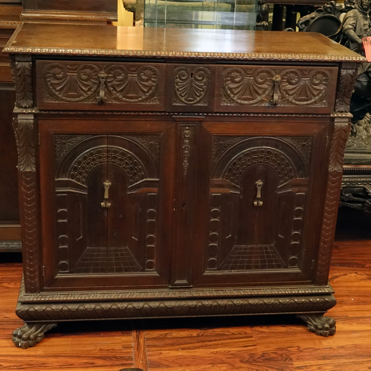 19th Century Renaissance Carved Walnut Cabinet