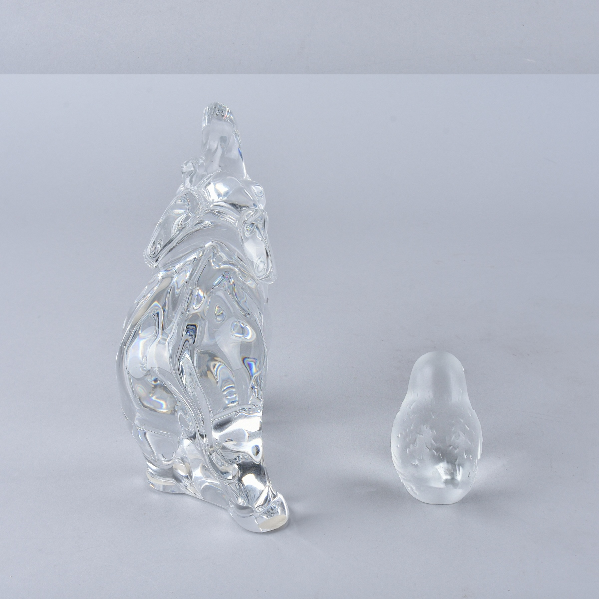 Two Vintage Crystal Figurines Elephant and Bird