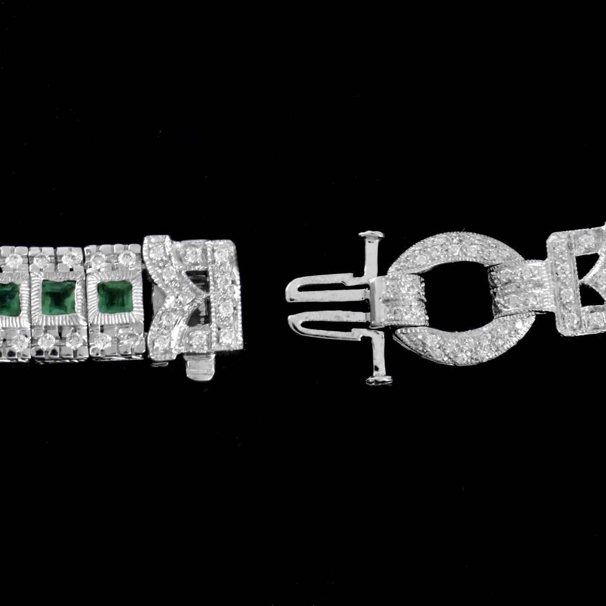 Diamond, Emerald and 14K Bracelet