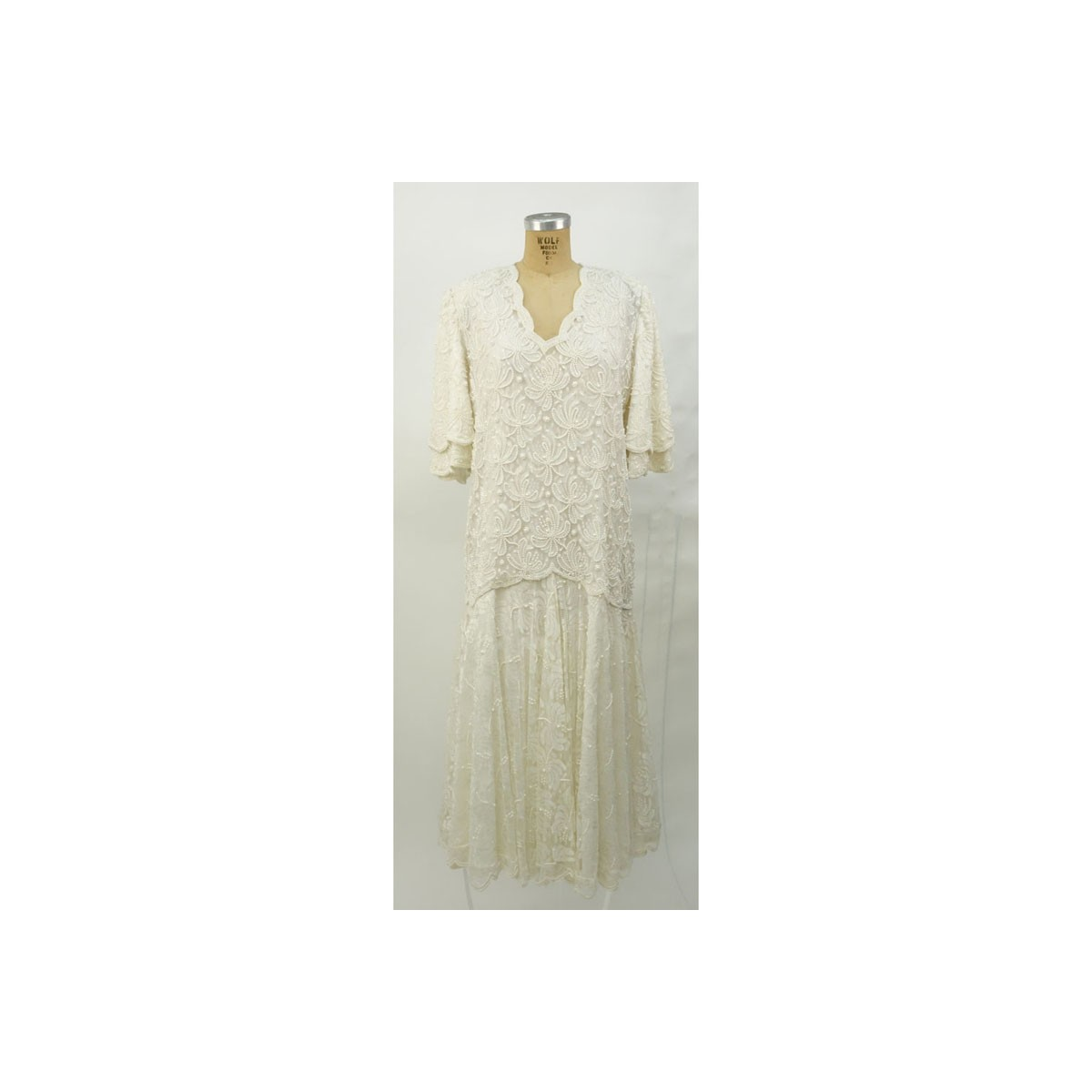 Vintage Ivory Color Beaded and Sequined Evening Dress. Some stain