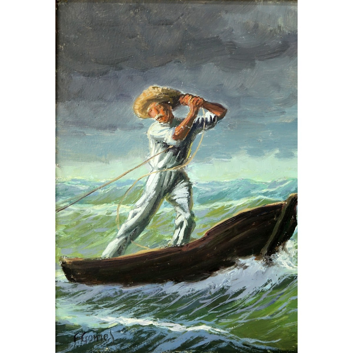 Fernando Pinto Gomes, (20th C) Oil on Masonite, Fisherman at Sea,