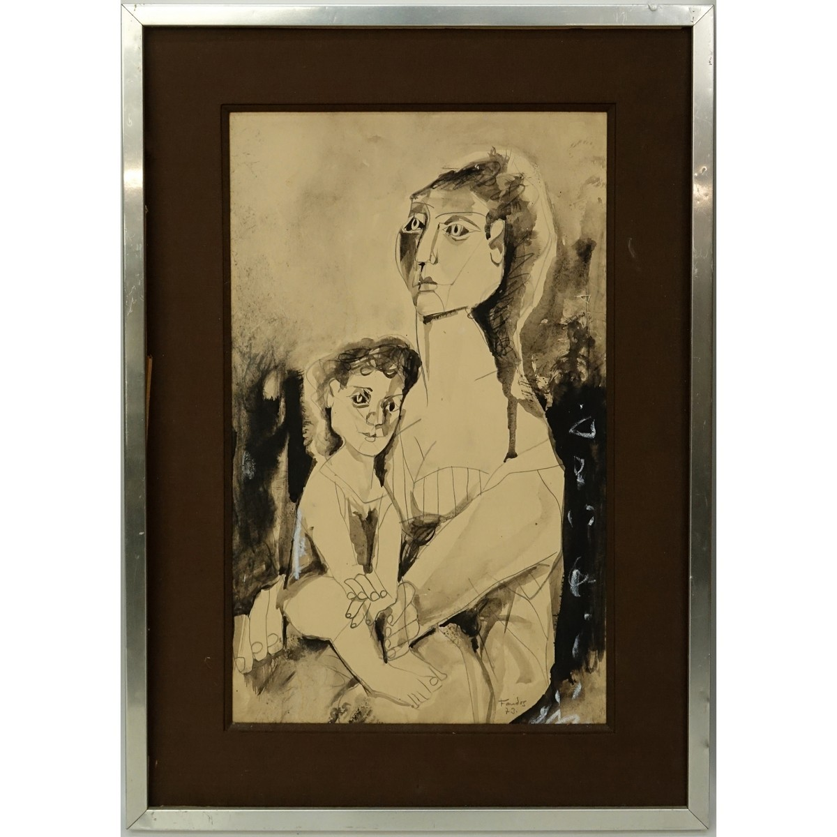 20th Century Gouache on Paper, Portrait of a Mother and Child, Si