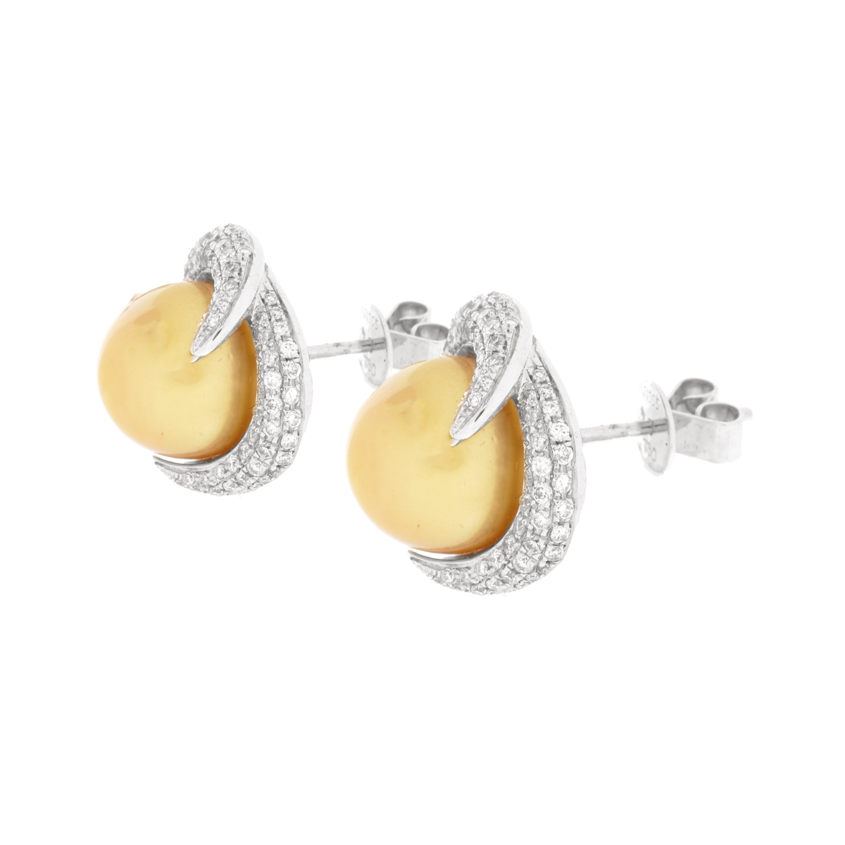Pearl, Diamond and 18K Earrings