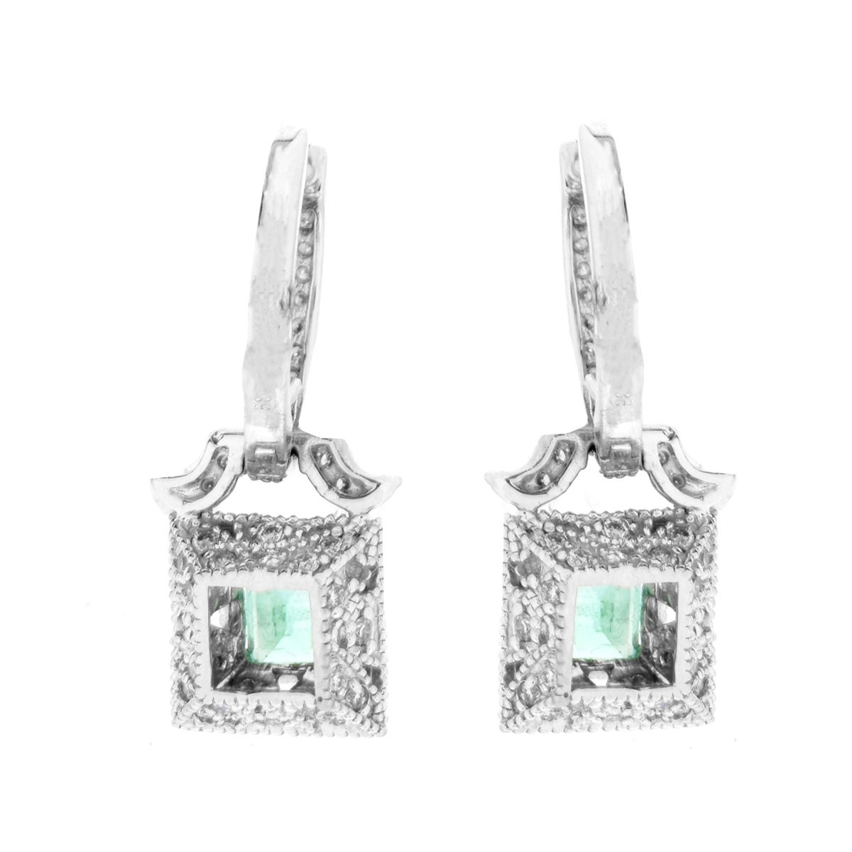 Emerald, Diamond and 14K Earrings