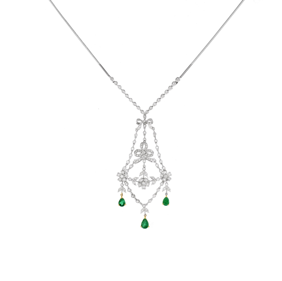 Diamond, Emerald and 18K Necklace