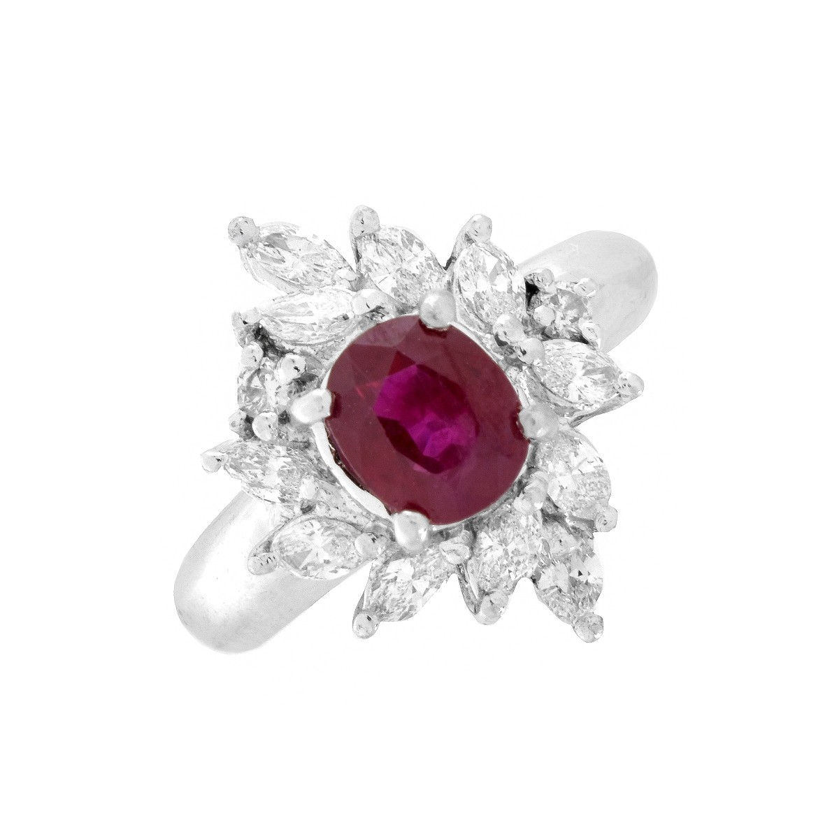 Ruby, Diamond and Platinum Ring