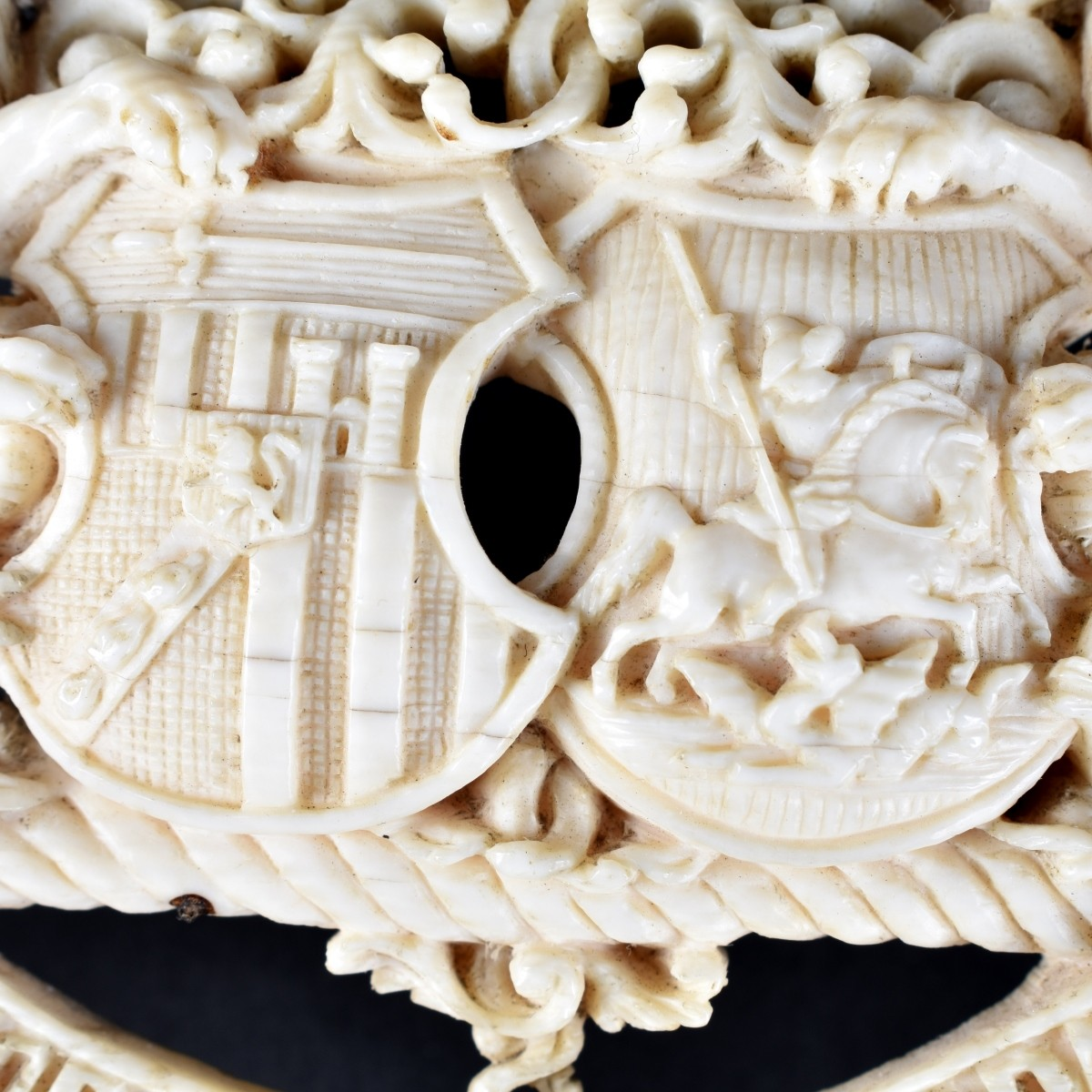 19th C. Continental School Ivory Coat of Arms