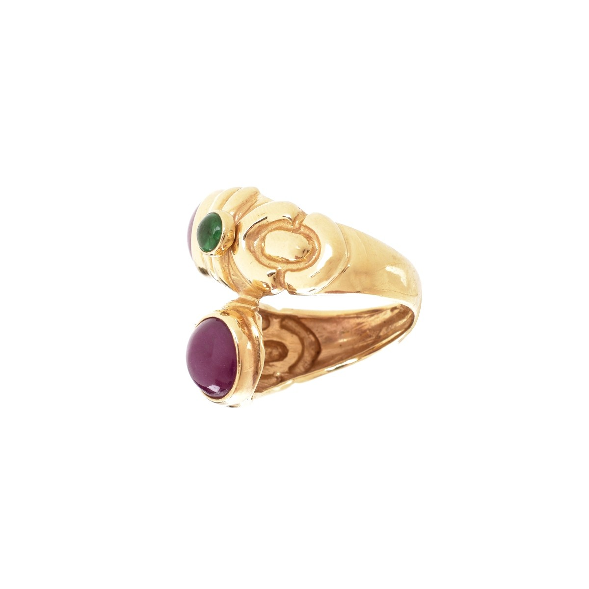 Vintage Ruby, Emerald and 14K Ring