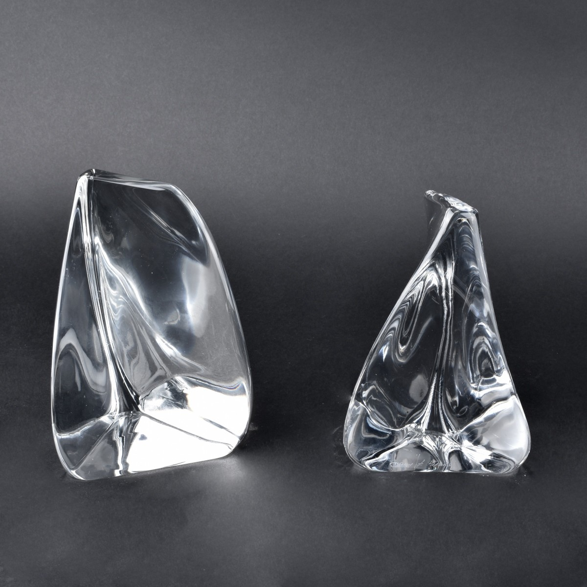 Pair of Daum Crystal Bookends
