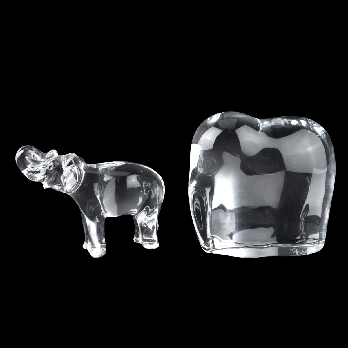 Two (2) Baccarat Crystal Elephant Figurines