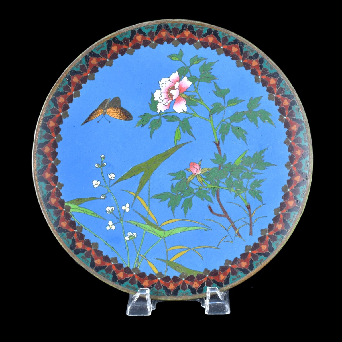 Chinese Cloisonne Charger Blue Ground