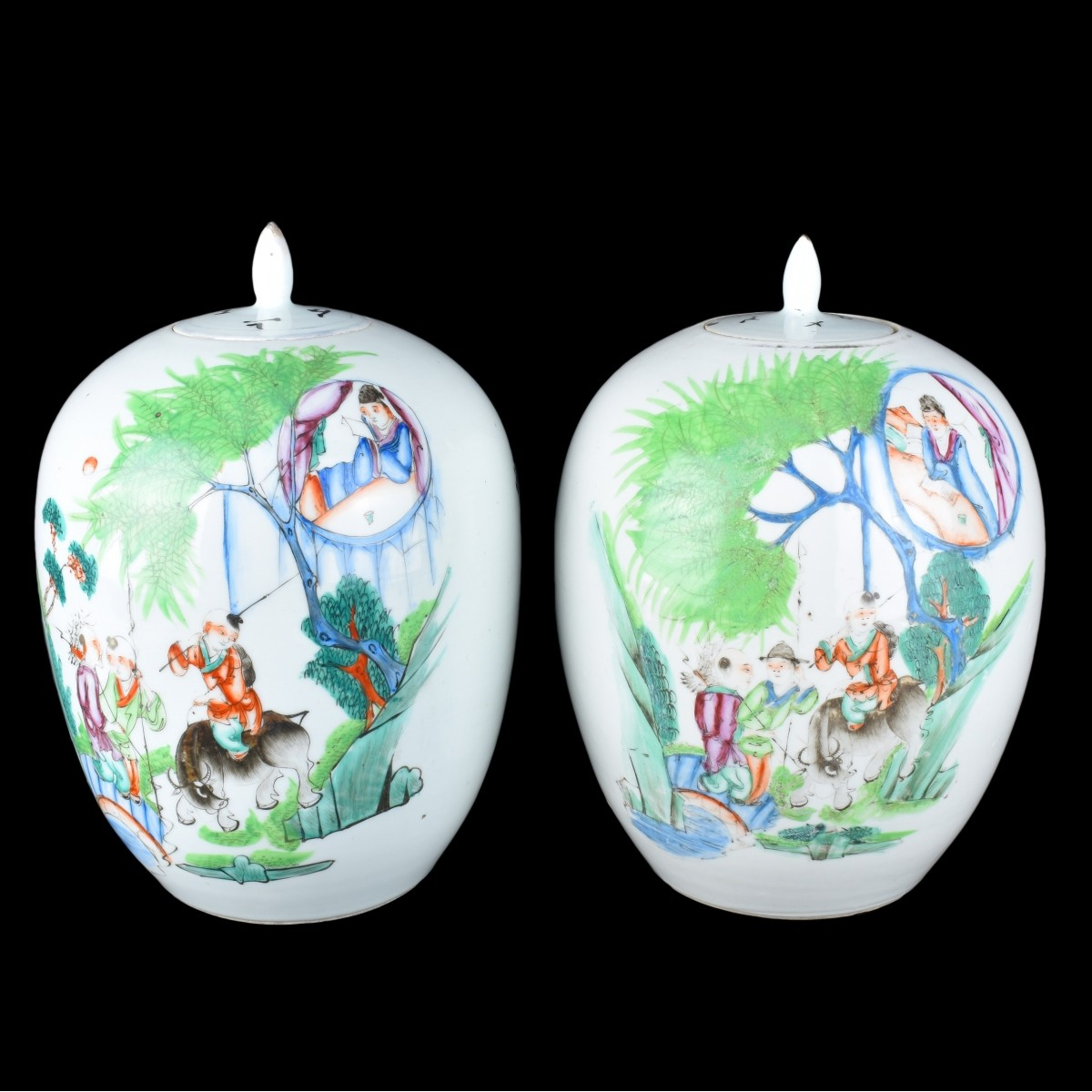 Pair of Chinese Famille Rose Ginger Jars