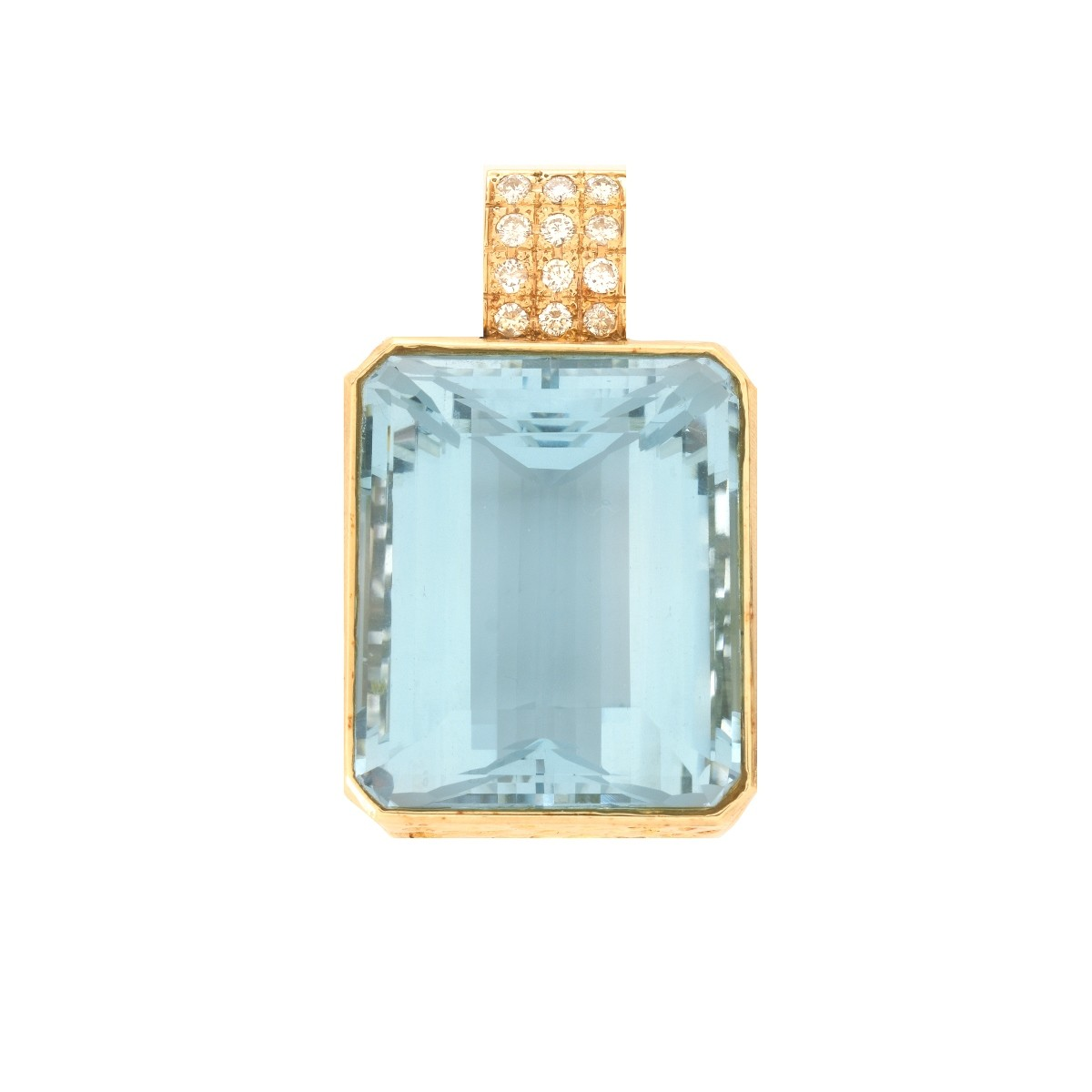 85.39ct Aquamarine, Diamond and 18K Pendant