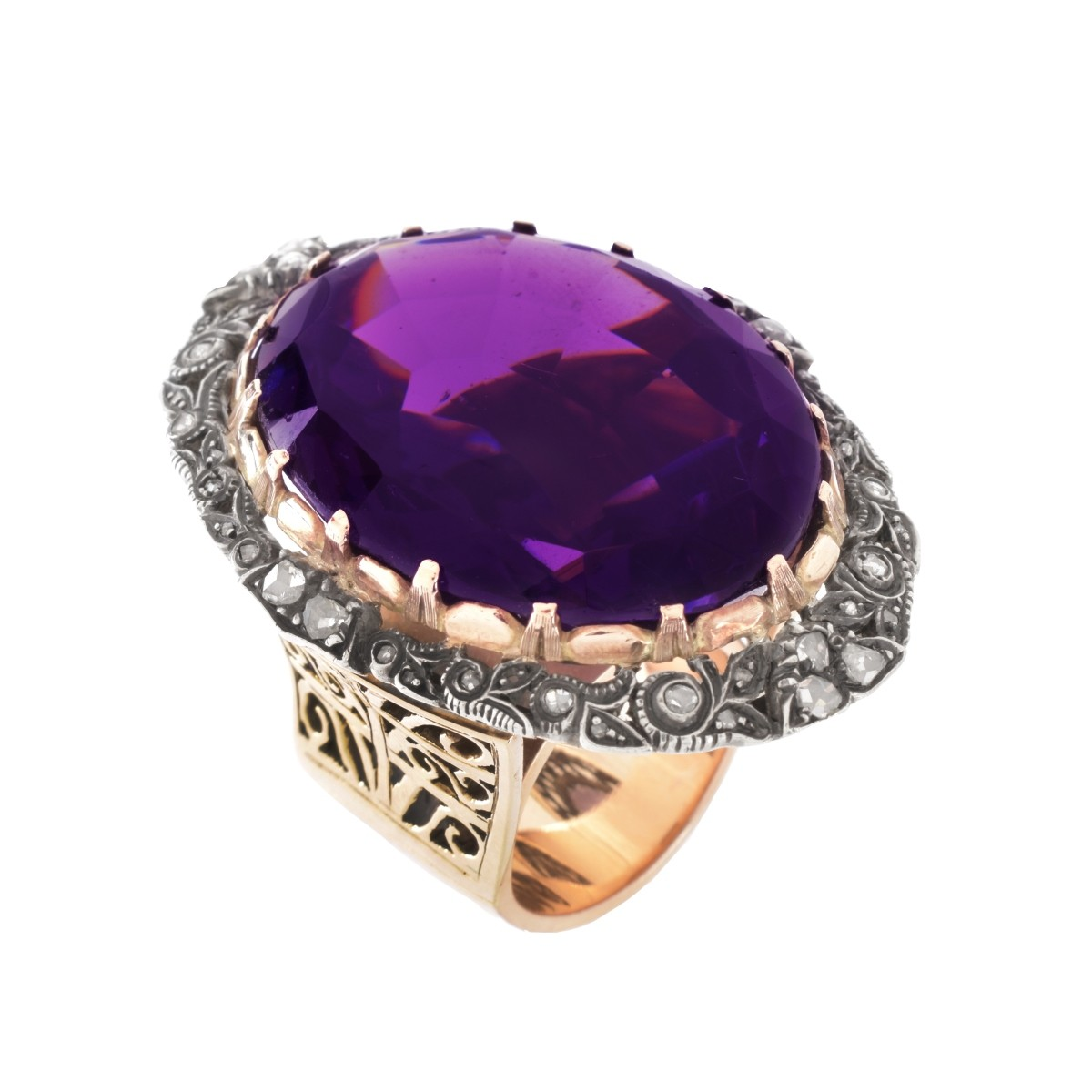 Retro Amethyst Diamond and 14K Ring