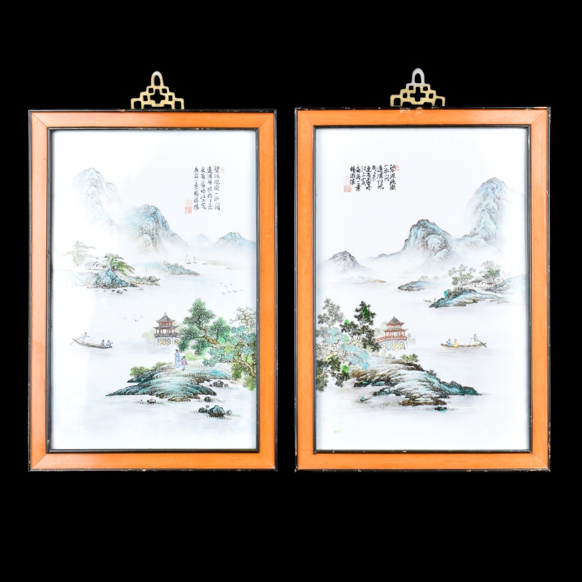 19C Pr Chinese Porcelain Framed Wall Plaques