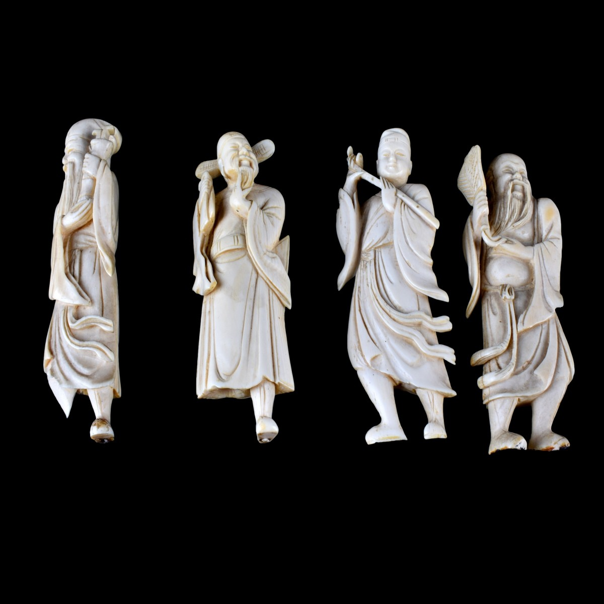 Four (4) Antique Chinese Carved Ivory Figurines