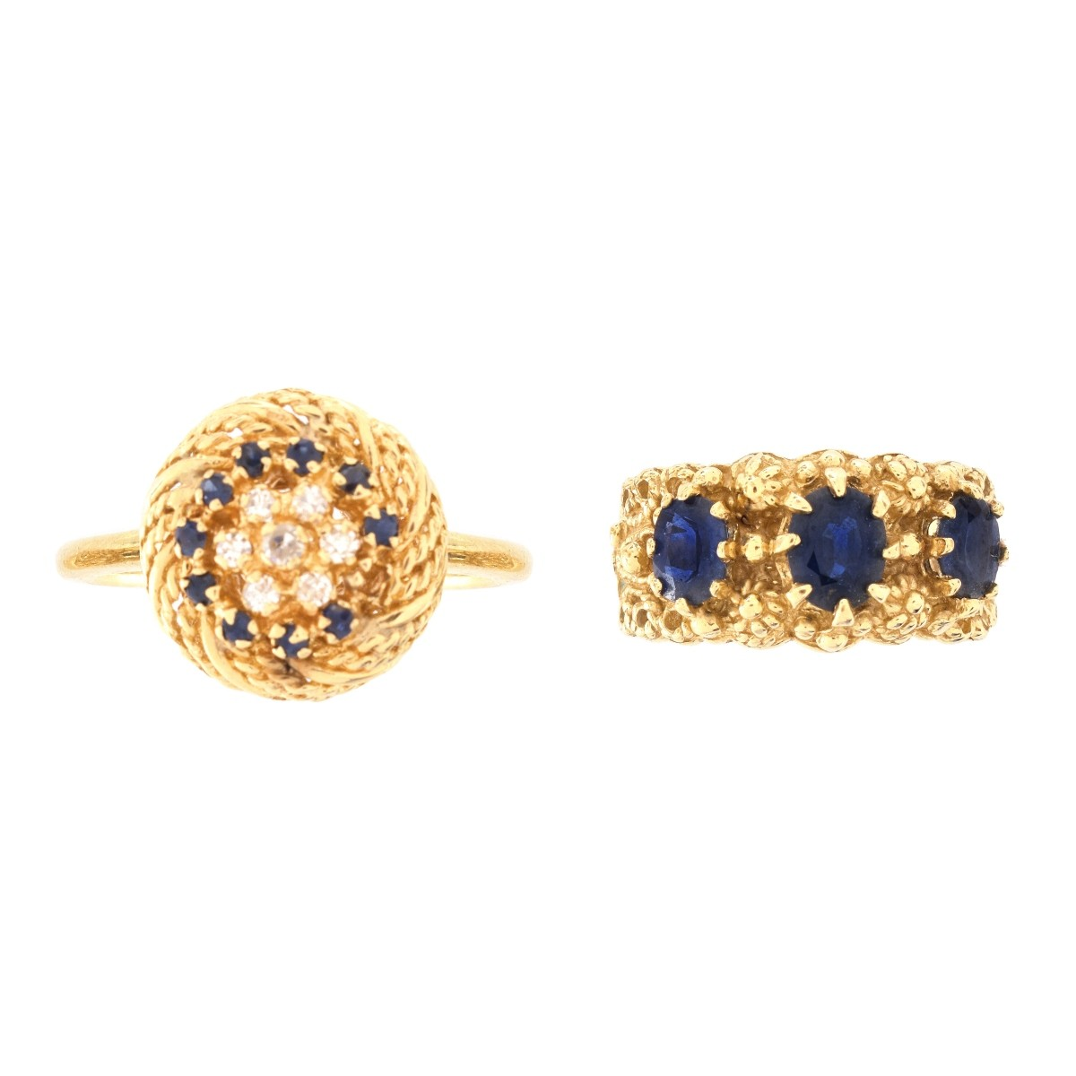 Two 14K and Gemstone Rings
