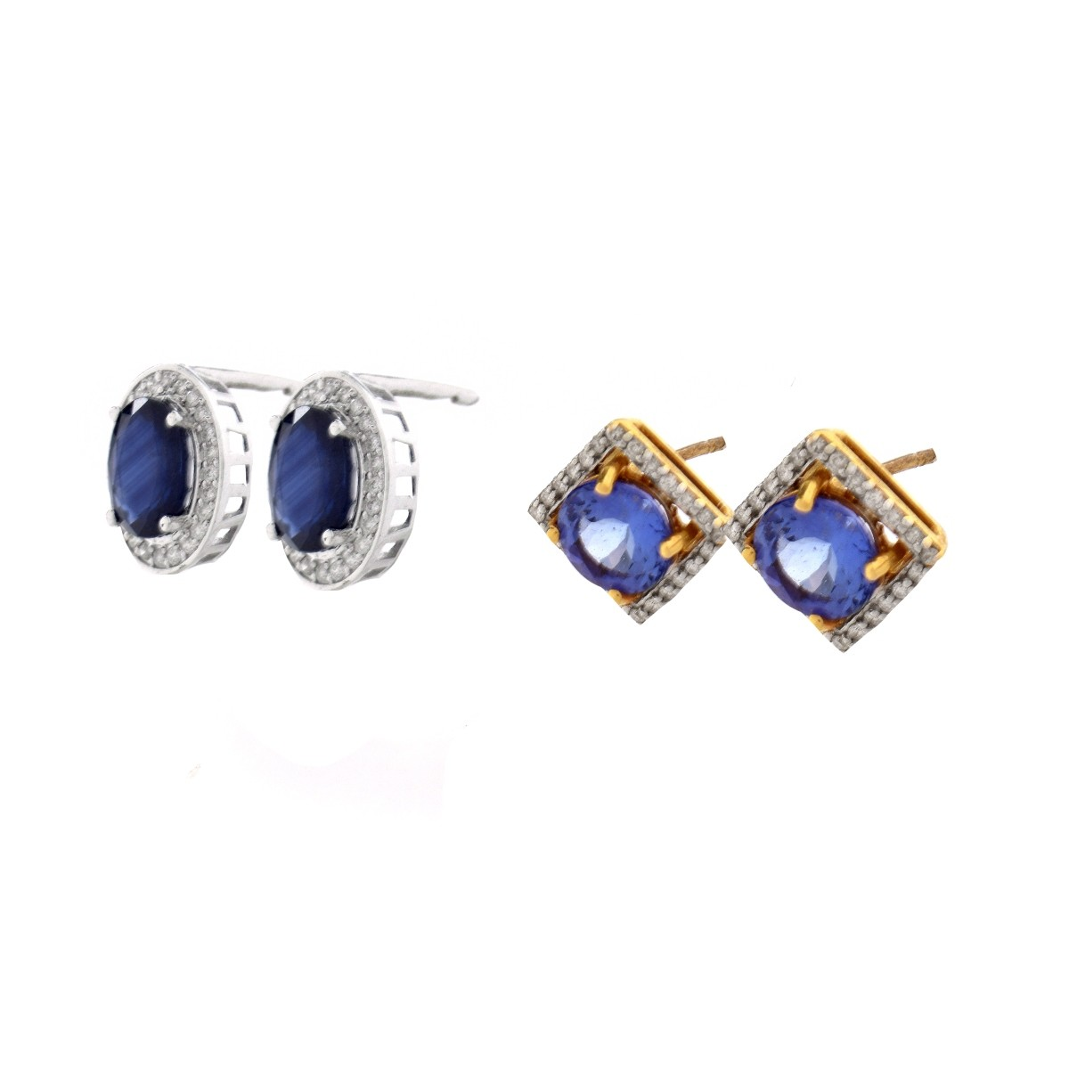 Two Pair of Gemstone and Diamond Ear Studs