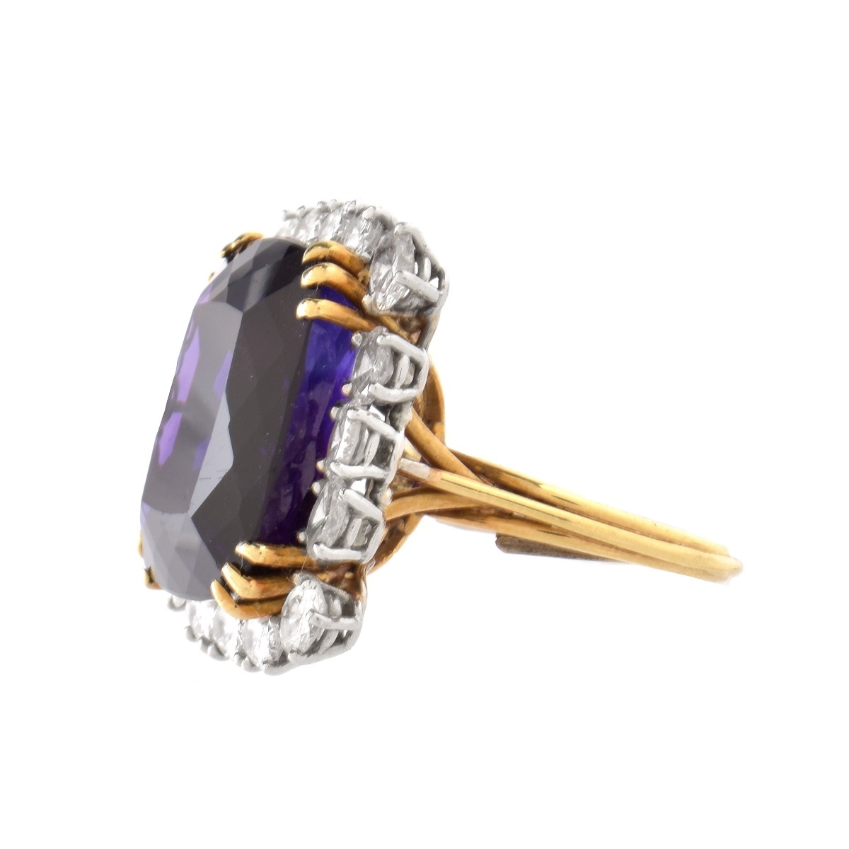 Amethyst, Diamond and 18K Ring