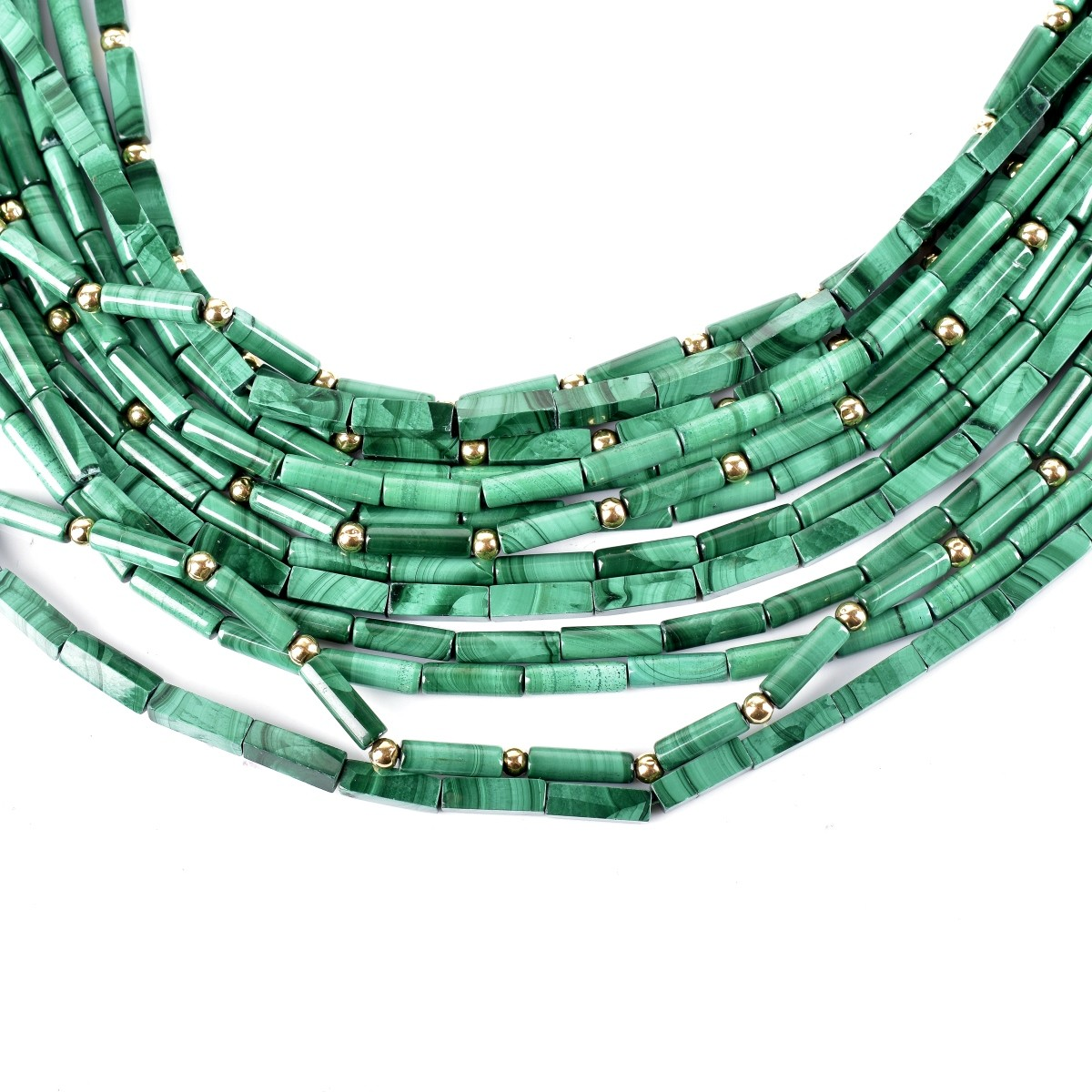 Malachite, Sapphire and 18K Necklace