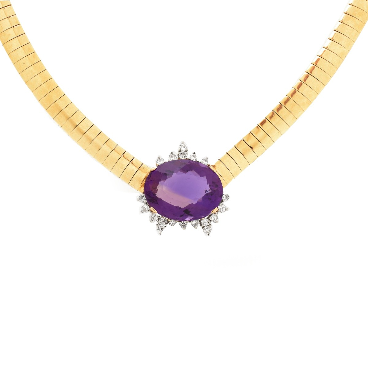 Amethyst, Diamond and 14K Necklace