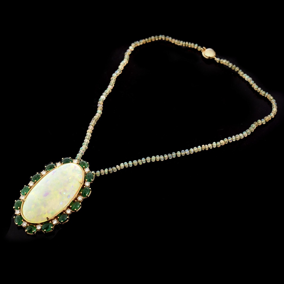 Large Opal, Emerald, Diamond and 14K Pendant