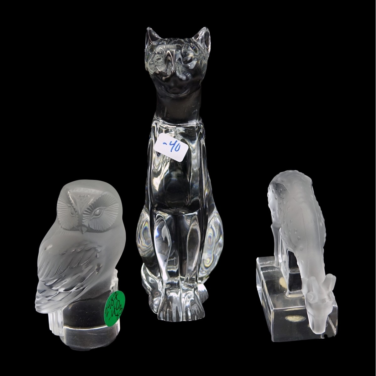 Three (3) Vintage Crystal Figurines