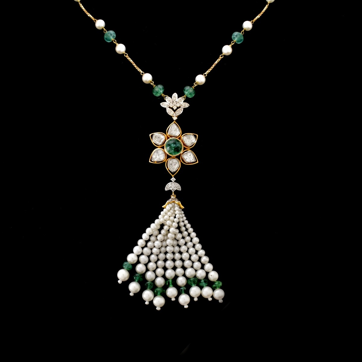 Diamond, Emerald, Pearl and 18K Tassel Necklace