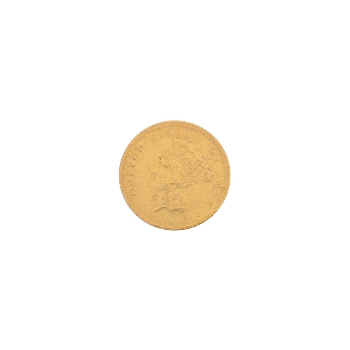 1874 US Gold Three Dollar Coin