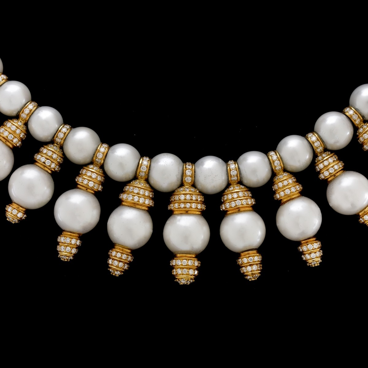 Vintage Diamond, Pearl and 18K Necklace