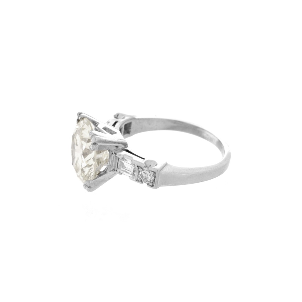 4.38 Carat Diamond and Platinum Ring