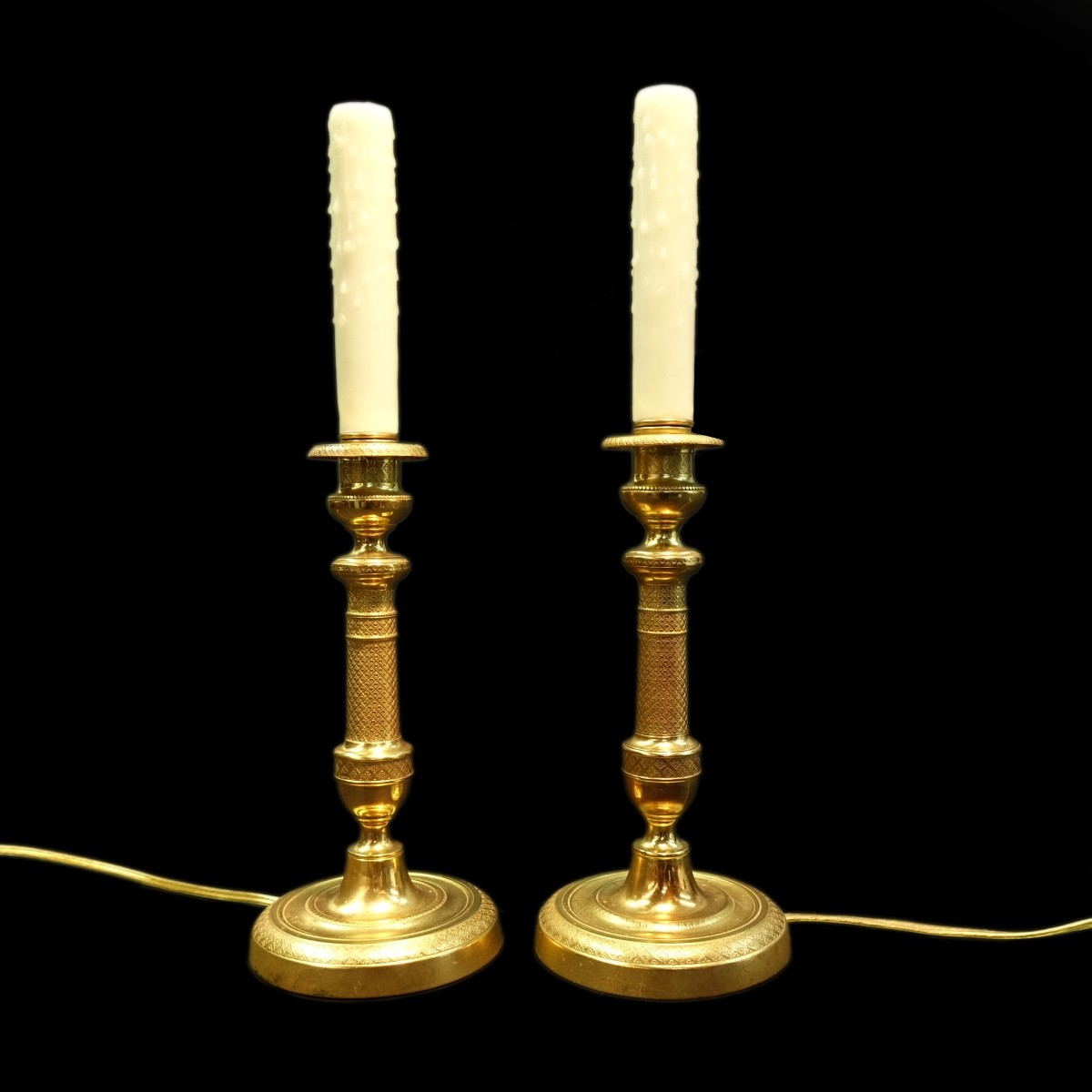 Pr Early 20C French Bronze Candelabras
