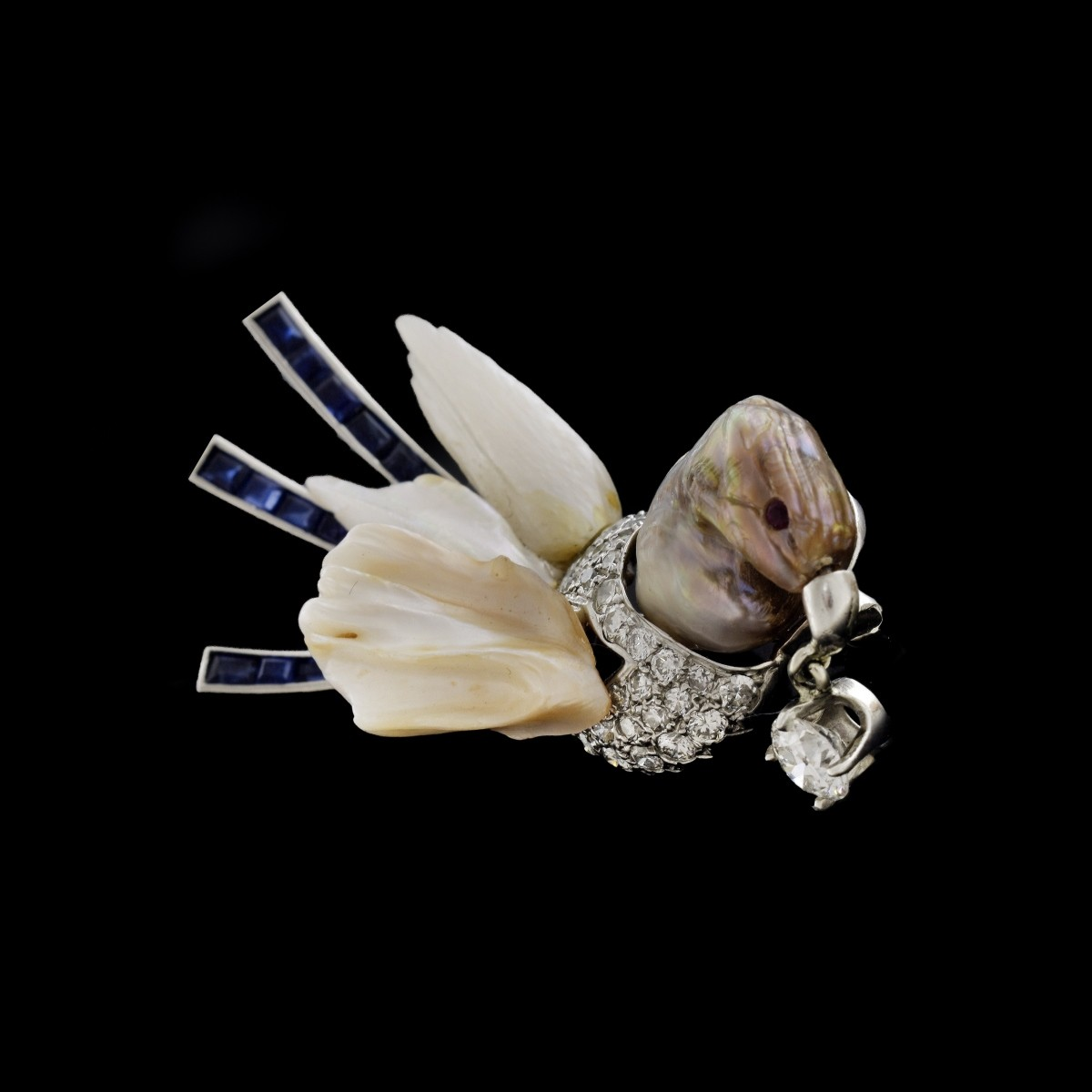 GIA Natural Baroque Pearl Bird Brooch