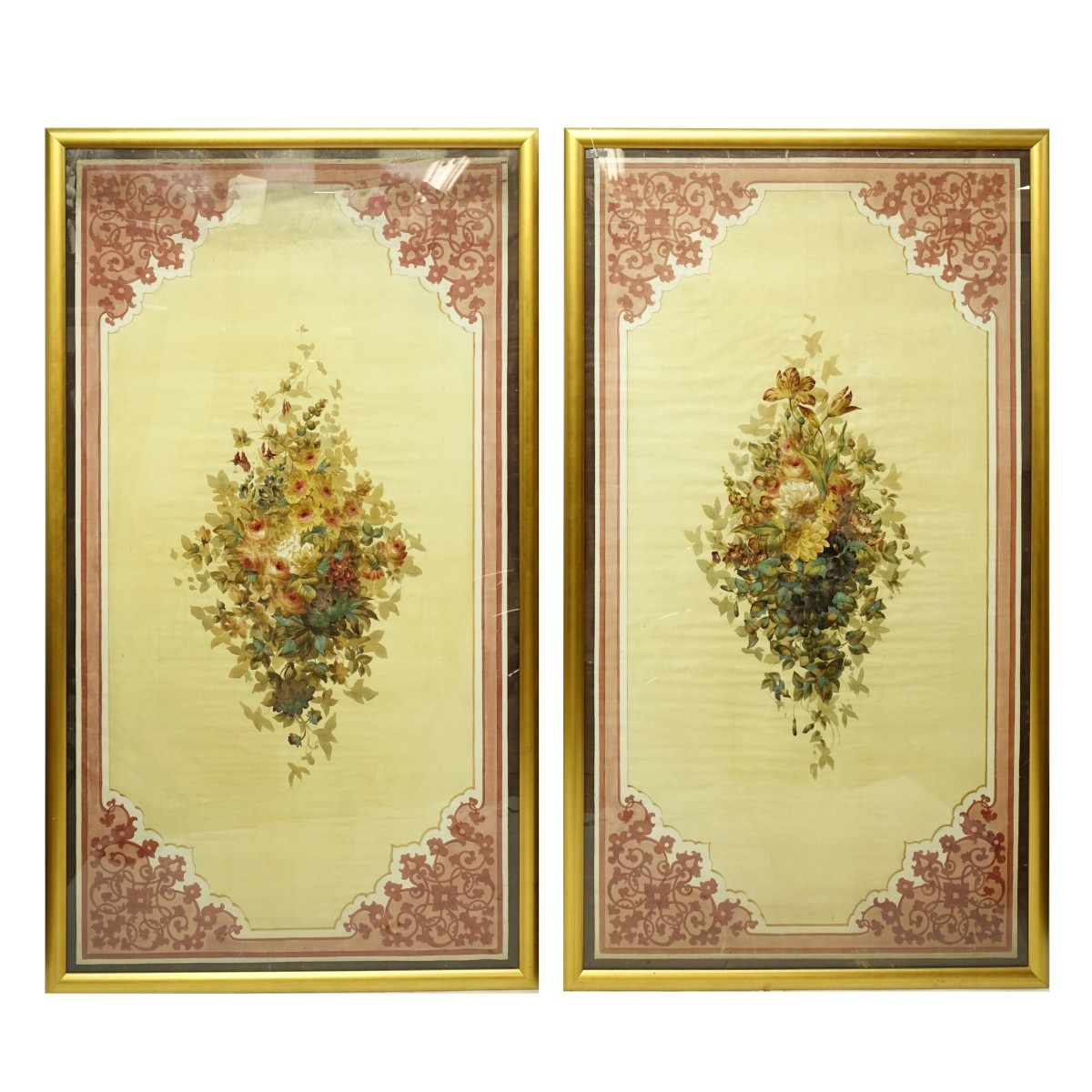 Pair of Large French Window Shades
