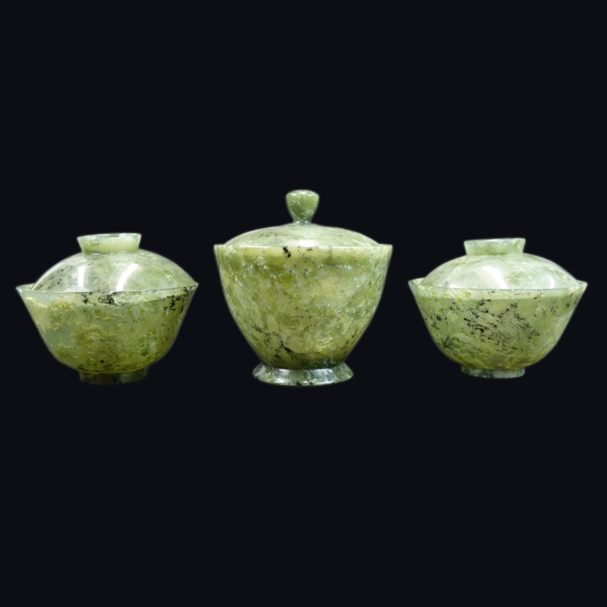 3 Chinese Jade Covered Bowls