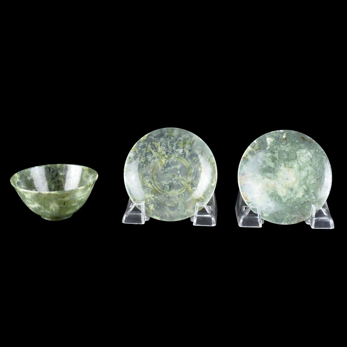 3 pc a Chinese Jade Cup and Saucers