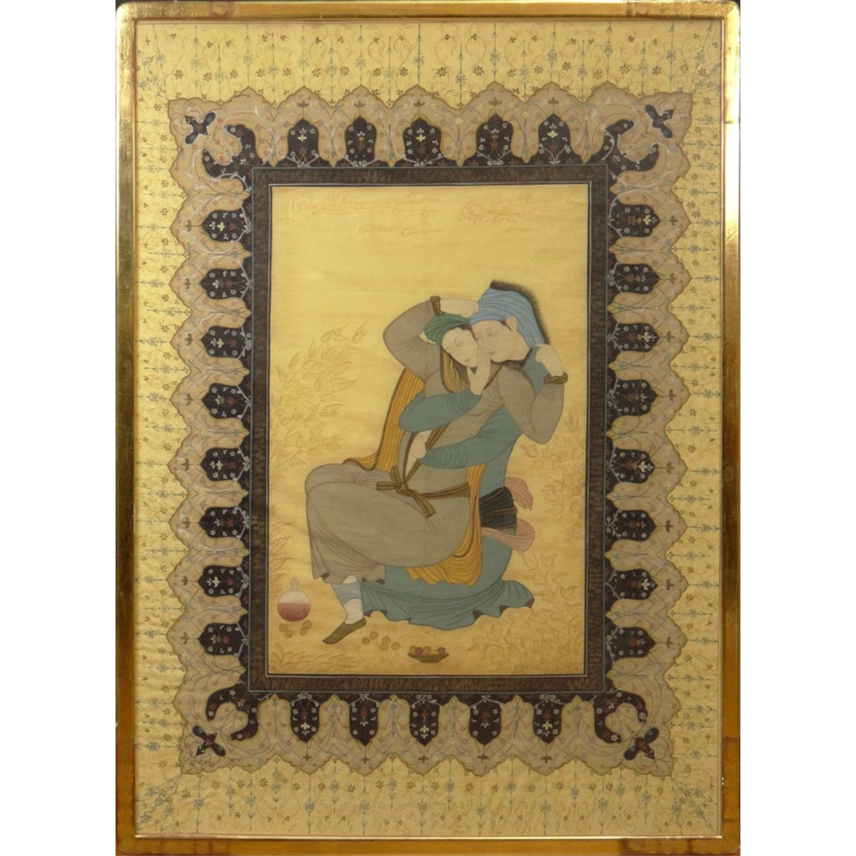 "19/20C Persian Watercolor ""The Embrace"""