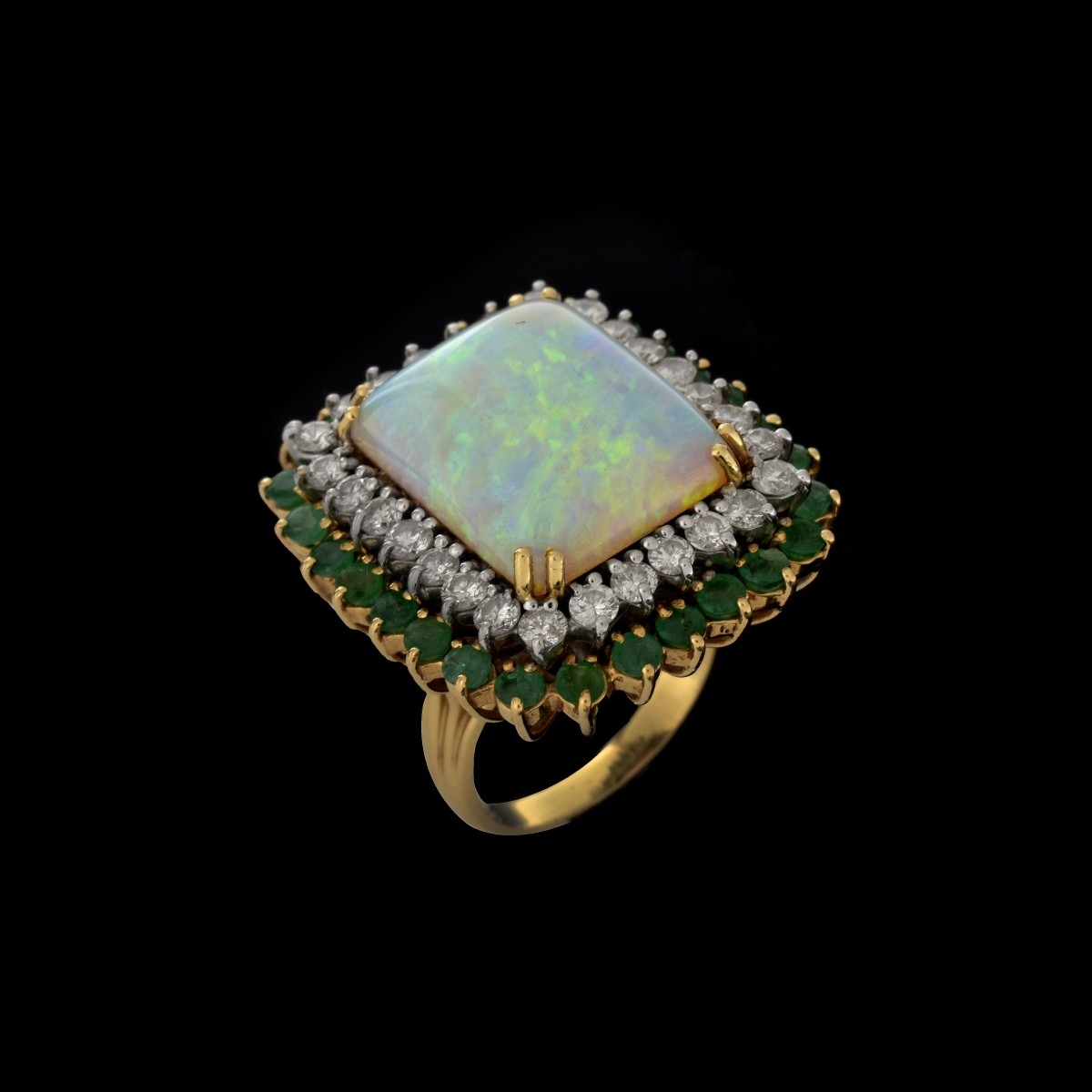 Opal, Diamond, Emerald and 14K Ring