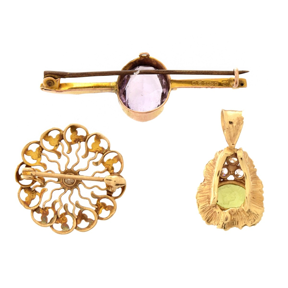 Two Gold and Gemstone Pins, One Pendant