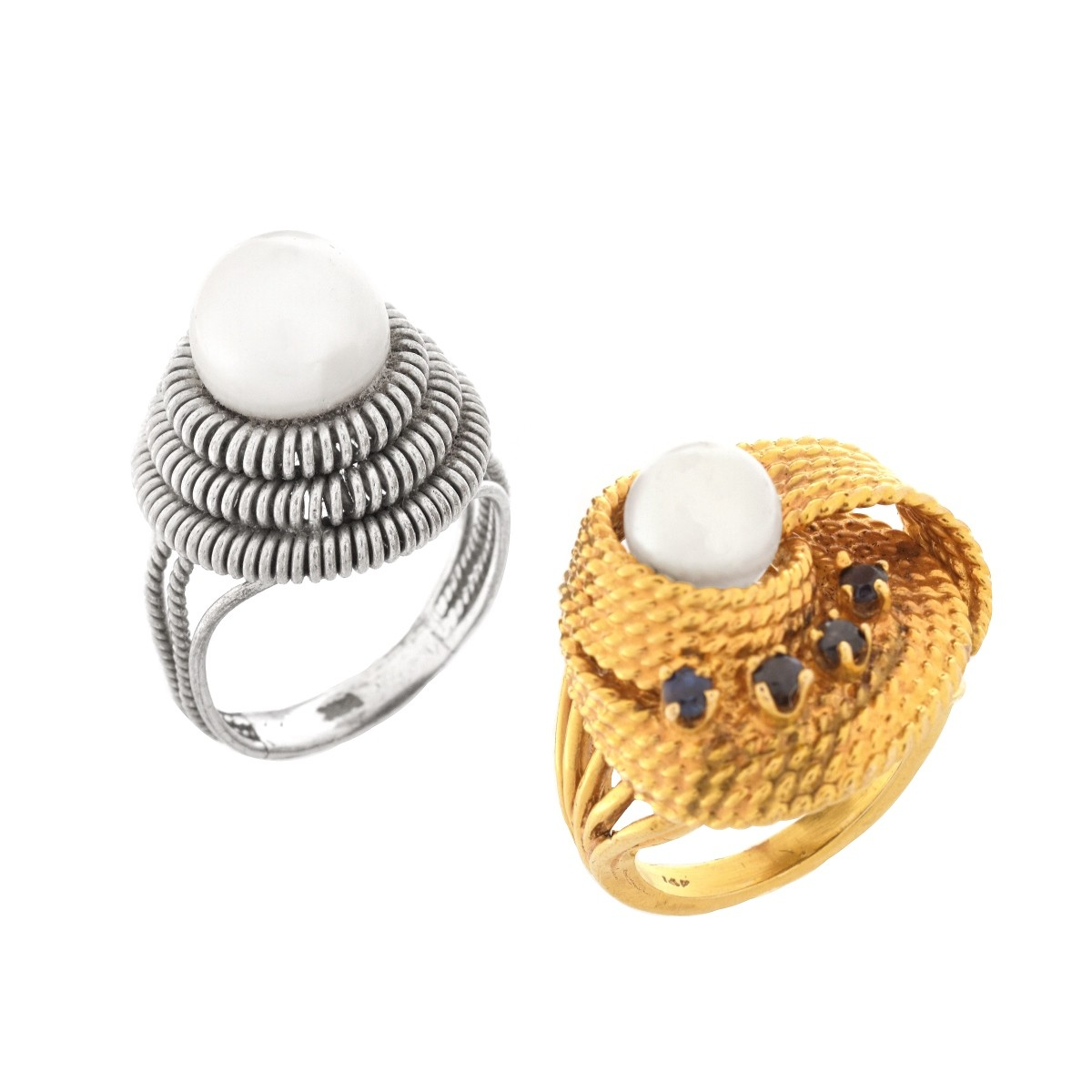 Two Vintage Pearl Rings