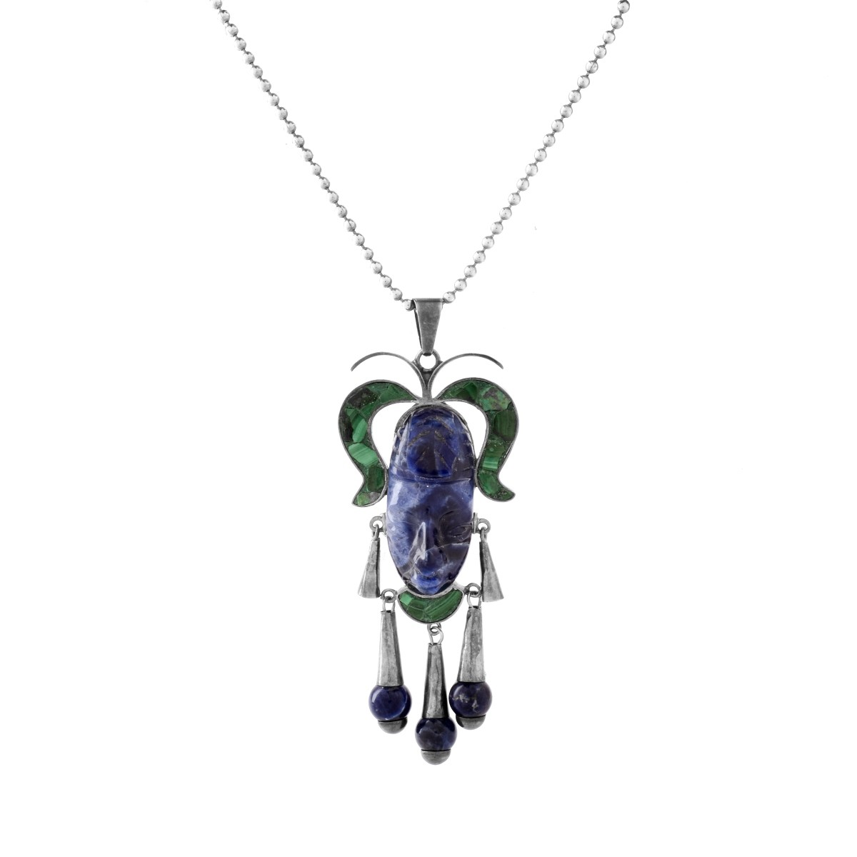 Mexican ACL Silver, Lapis and Malachite Pendant
