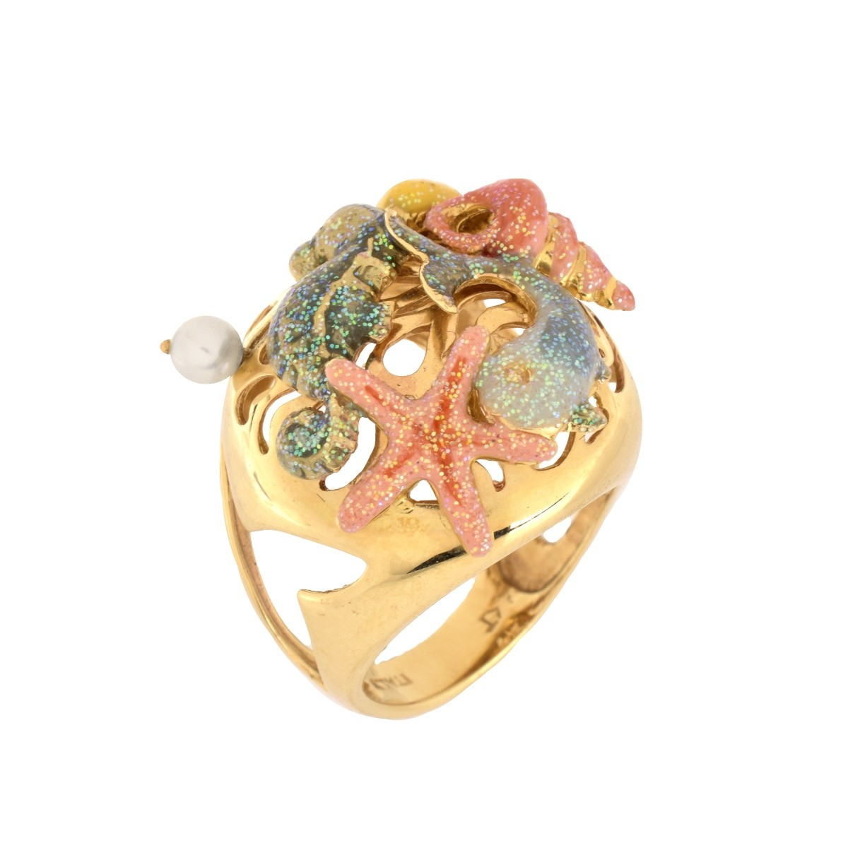 14K Enamel and Pearl Ring