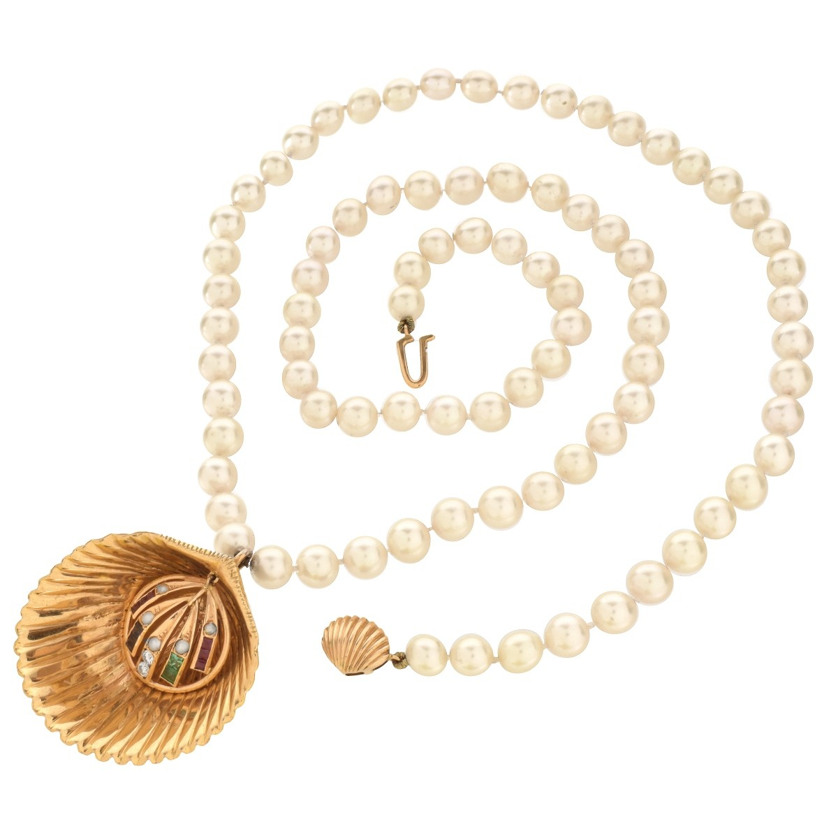 Vintage Pearl, Gemstone and 18K Pendant Necklace