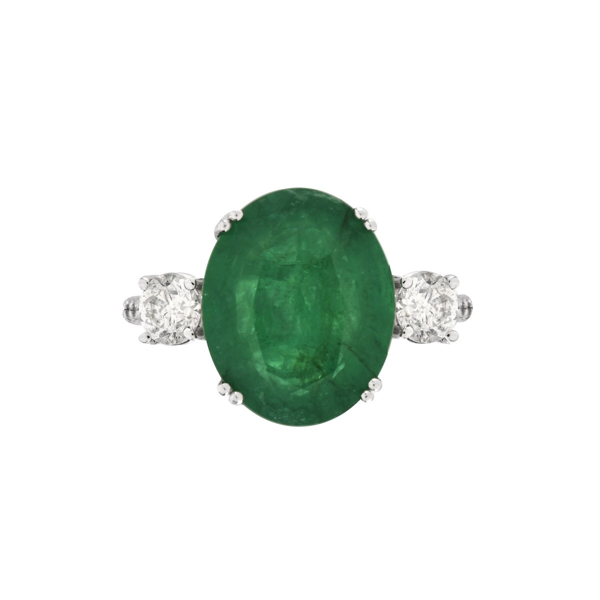 AGL Emerald, Diamond and 14K Ring